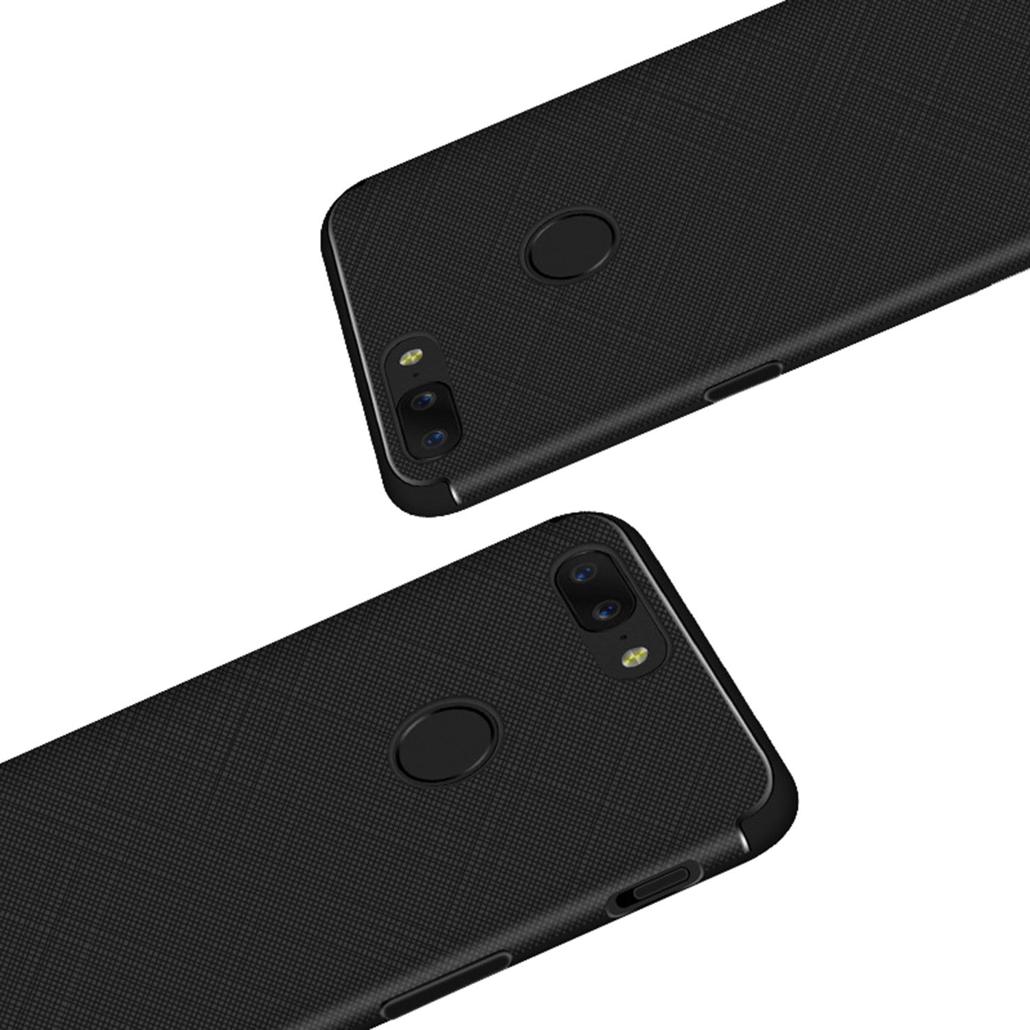 Cross Pattern Anti Skid Protective Flexible Back Case Cover for Oneplus 5T - Black - Mobizang