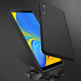 Shock Proof Anti Skid Full Protective Back Case Cover for Galaxy A7 2018 - Black - Mobizang