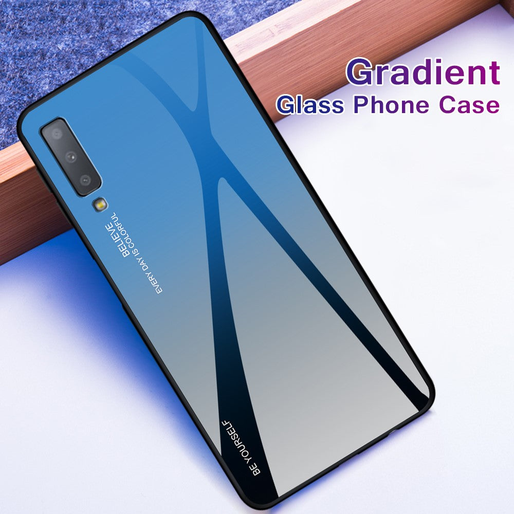 Gradient Dual Shade Glass Back Shock Proof Case Cover for Samsung Galaxy A7 (2018, Triple Camera) - Mobizang