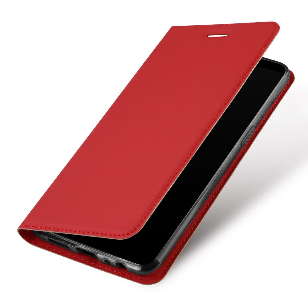 Slim Magnetic Closure PU Leather Stand Flip Case Cover [with Inbuilt Card Slot] For Oppo F7 - Red - Mobizang