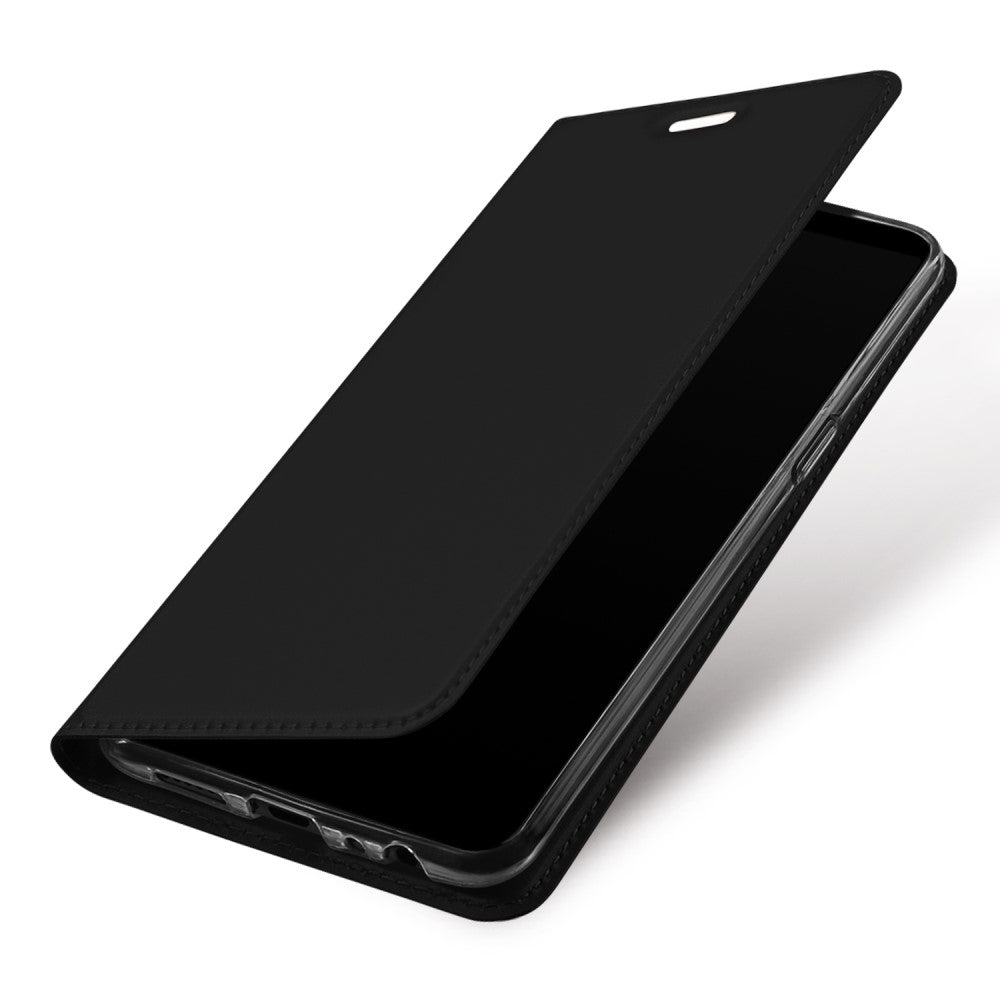 Slim Magnetic Closure PU Leather Stand Flip Case Cover [with Inbuilt Card Slot] For Oppo F7 - Black - Mobizang