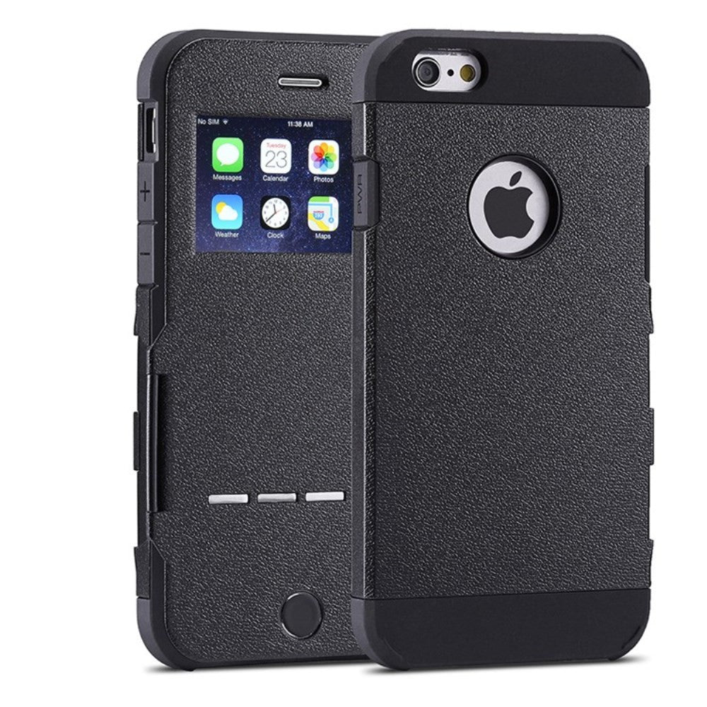 Kapa Shockproof Window View Flip With Metal Sense Slide Button Case Cover for Apple iPhone 6 - Black - Mobizang