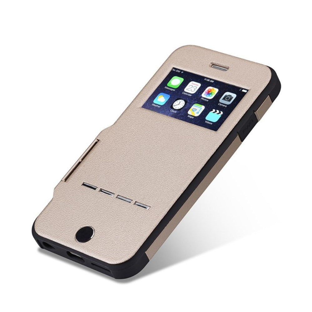 Kapa Shockproof Window View Flip With Metal Sense Slide Button Case Cover for Apple iPhone 6 - Champagne Gold - Mobizang