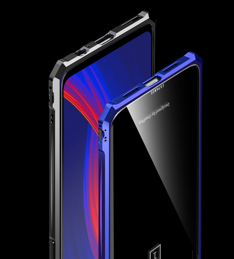 Toughened Glass & Metal Frame Shock Proof Back Case for Oneplus 6T - Mobizang