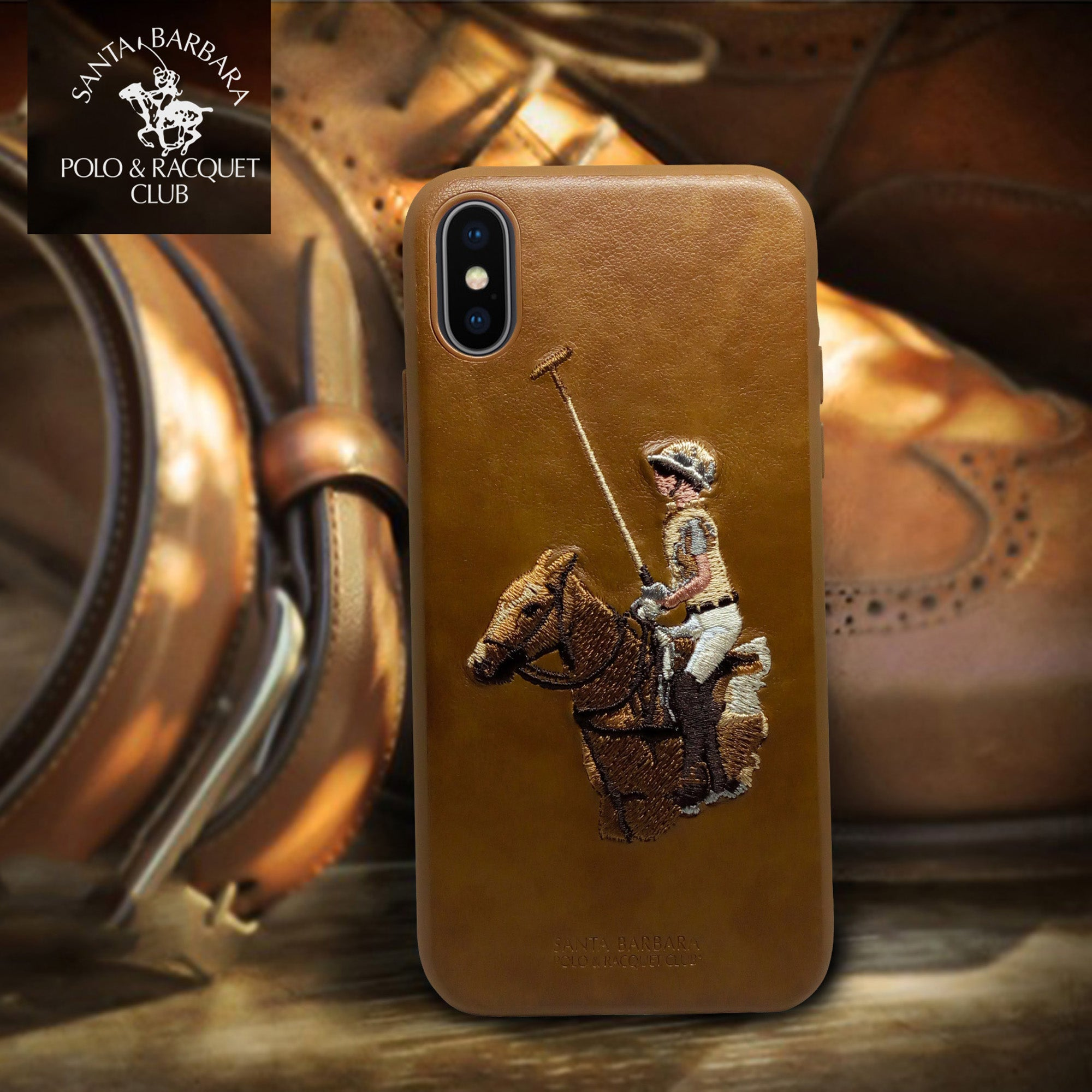 Polo Racquet Club Jockey Leather Back Case Cover for Apple iPhone X / XS - Mobizang