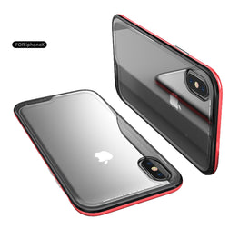 Luphie Shock Proof Tempered Glass Back Case Cover for Apple iPhone X - Red-Black - Mobizang