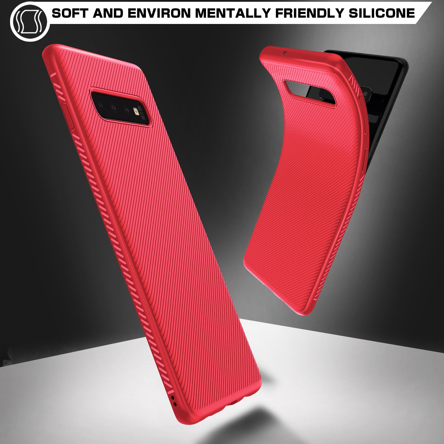 Twill Shock Proof Soft Flexible Back Case Cover for Samsung Galaxy S10 Plus - Red - Mobizang