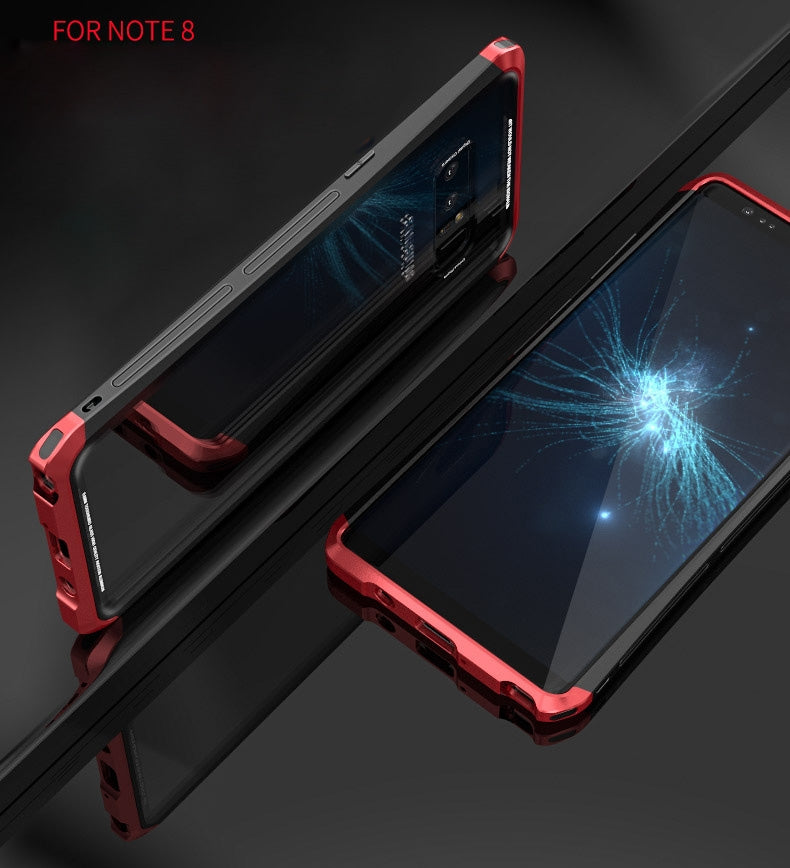 Luphie Tempered Glass Back + Metal Side Frame Bumper Shock Proof Case Cover for Samsung Galaxy Note 8 - Red , Black - Mobizang