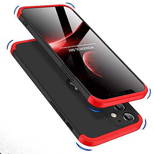 Double Dip Full 360 Protection Back Case Cover for Apple iPhone 12 (6.1) (Red/Black)