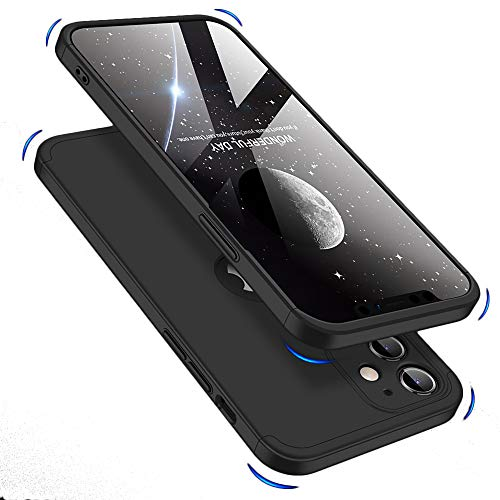 Double Dip Full 360 Protection Back Case Cover for Apple iPhone 12 (6.1) (Black)