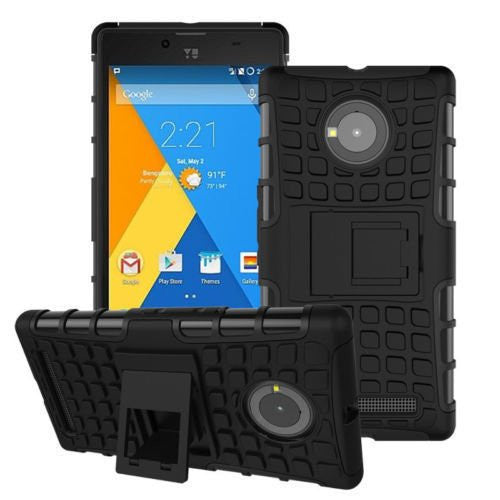 Kapa Dual Layer Shock proof Defender Stand Back Case Cover For Yu Yuphoria - Black - Mobizang