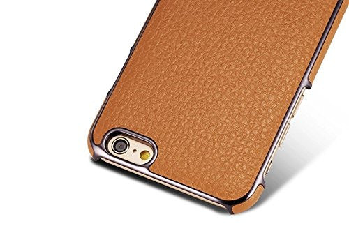 G CASE Luxury Leather Back Case Cover With Metal Stand for iPhone 6 Plus - Brown - Mobizang