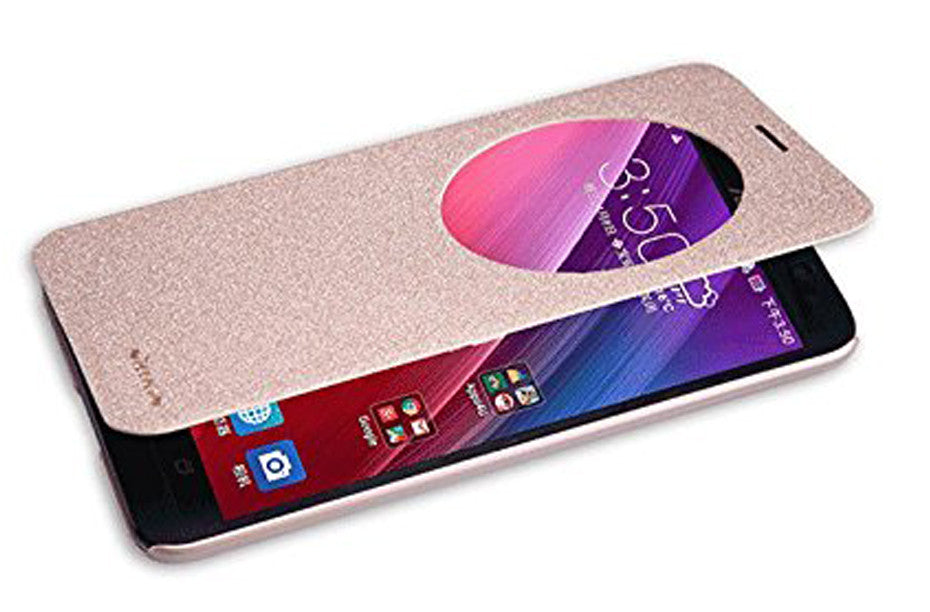 Nillkin Sparkle Series Window View Leather Flip Case Cover for Asus Zenfone 2 ZE551ML ZE550ML - Gold - Mobizang