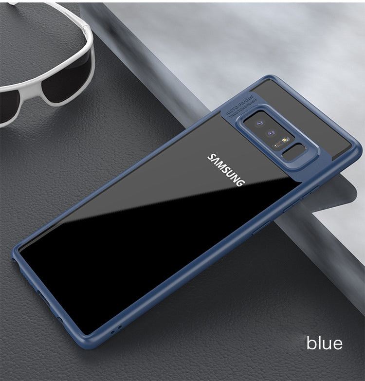 Clear Back Complete Lens Protector Case Cover for Samsung Galaxy Note 8 - Blue - Mobizang