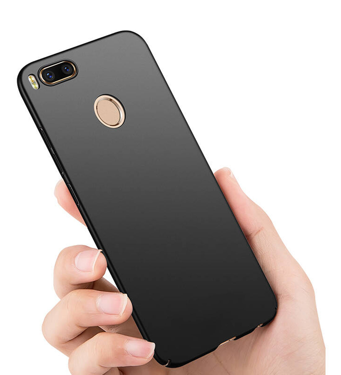 Silk Smooth Finish [Full Coverage] All Sides Protection Slim Back Case Cover For Xiaomi Mi A1 - Black - Mobizang