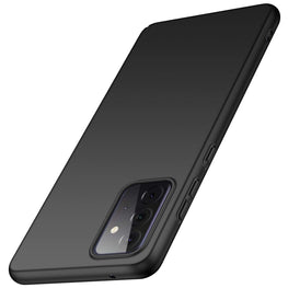 Silk Smooth Finish [Full Coverage] All Sides Protection Slim Back Case Cover for Samsung Galaxy A72 (Black)