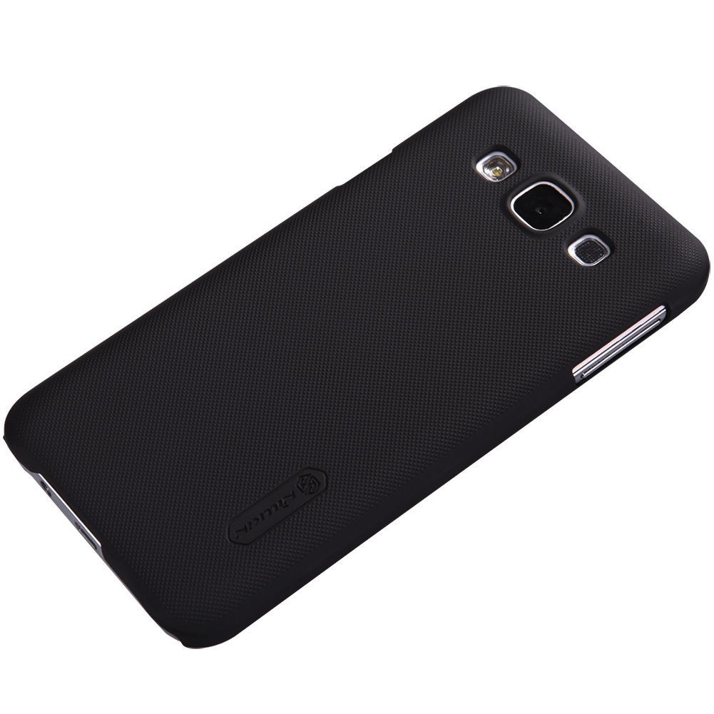 Nillkin Frosted Shield Hard Back Case Cover for Samsung Galaxy E5 + Screenguard - Black - Mobizang