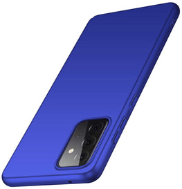 Silk Smooth Finish [Full Coverage] All Sides Protection Slim Back Case Cover for Samsung Galaxy A72 (Blue)