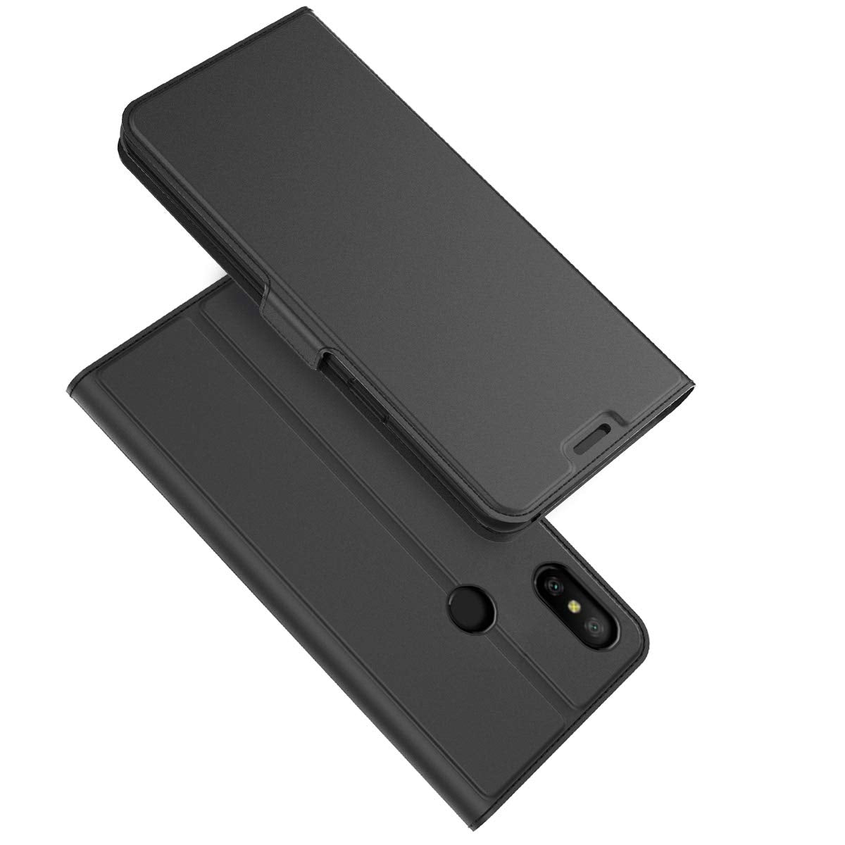 Noble Slim Magnetic & Card Holder Stand Leather Flip Case Cover for Xiaomi Redmi Note 6 PRO - Black - Mobizang