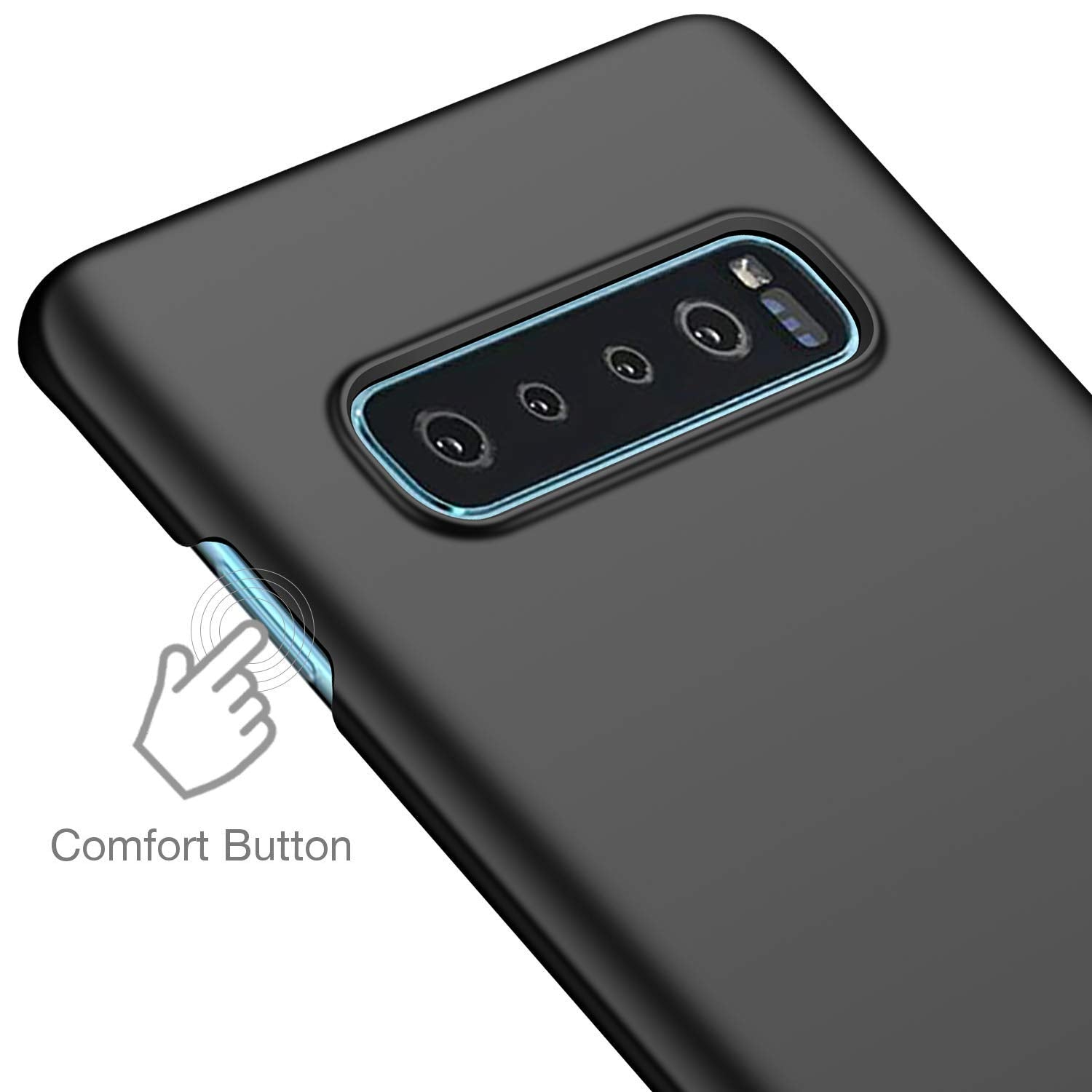 Silk Smooth Finish [Full Coverage] All Sides Protection Slim Back Case Cover For Samsung Galaxy S10 PLUS - Black - Mobizang