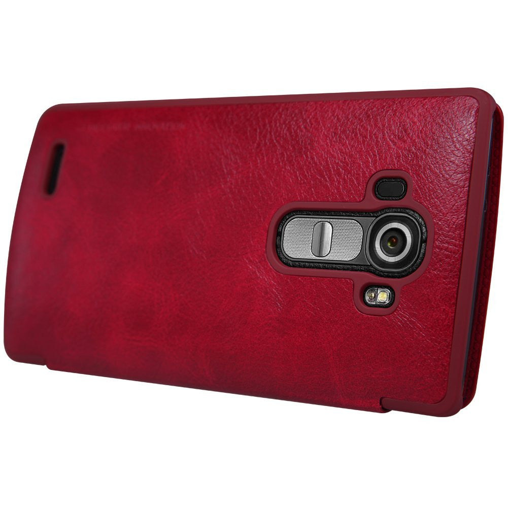 Nillkin Qin Series Quickcircle Leather Window Flip Case Cover for LG G4 - Red - Mobizang
