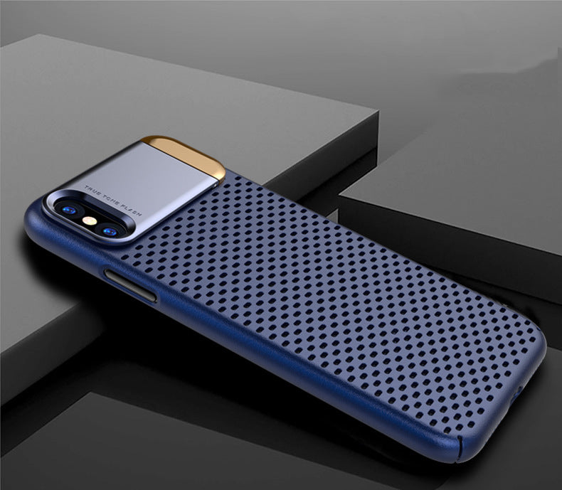 Heat Radiating Hollow Mesh Back Case Cover with inbuilt Metal Stand for Apple iPhone X - Blue - Mobizang