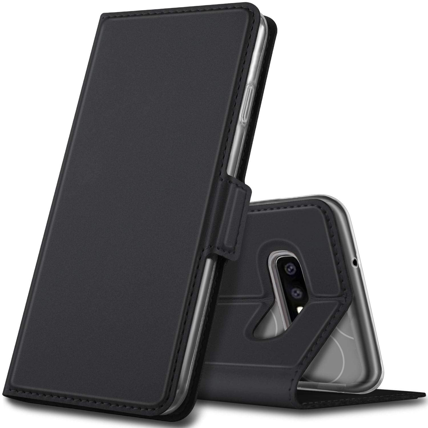 Noble Slim Magnetic & Card Holder Stand Leather Flip Case Cover for Samsung Galaxy S10 - Black - Mobizang