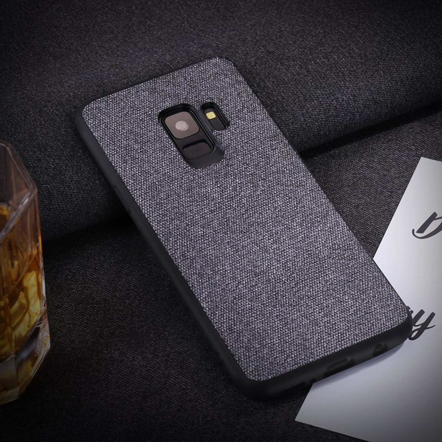 Full Fabric Hybrid Protective Case Cover for Samsung Galaxy S9 - Grey - Mobizang