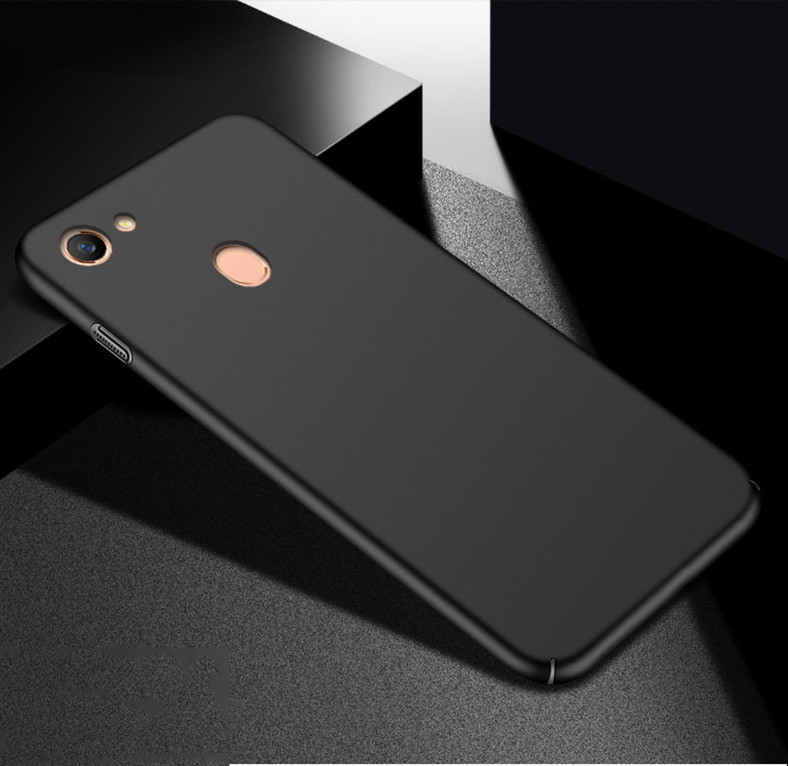 Silk Smooth Finish [Full Coverage] All Sides Protection Slim Back Case Cover For Oppo F7 - Black - Mobizang