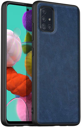 Tux Back Case for Samsung Galaxy A71, Slim Leather Case with Soft Edge Shockproof Back Cover (Blue)