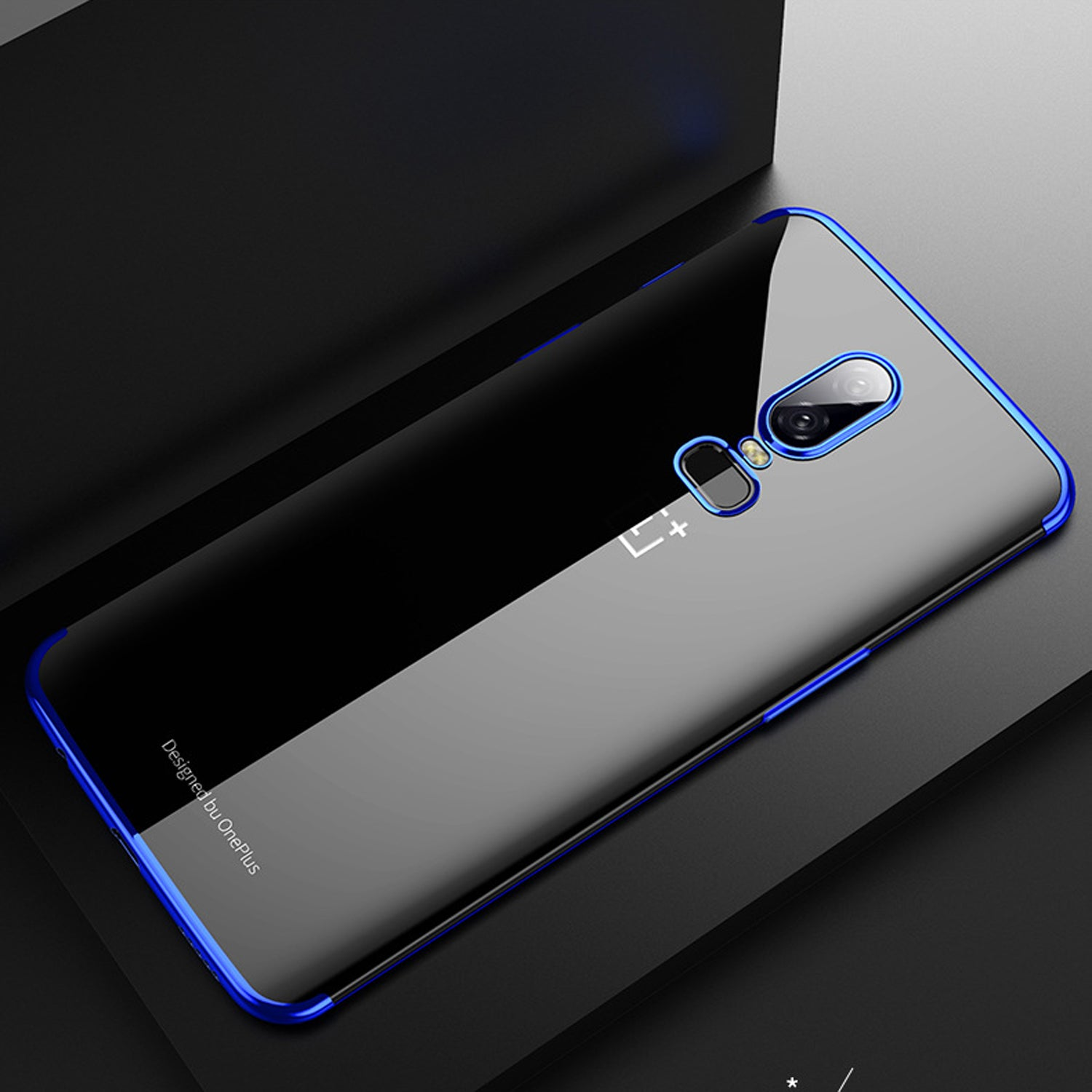 Chrome Plated Transparent Flexible Protective Case Cover for Oneplus 6 - Blue - Mobizang