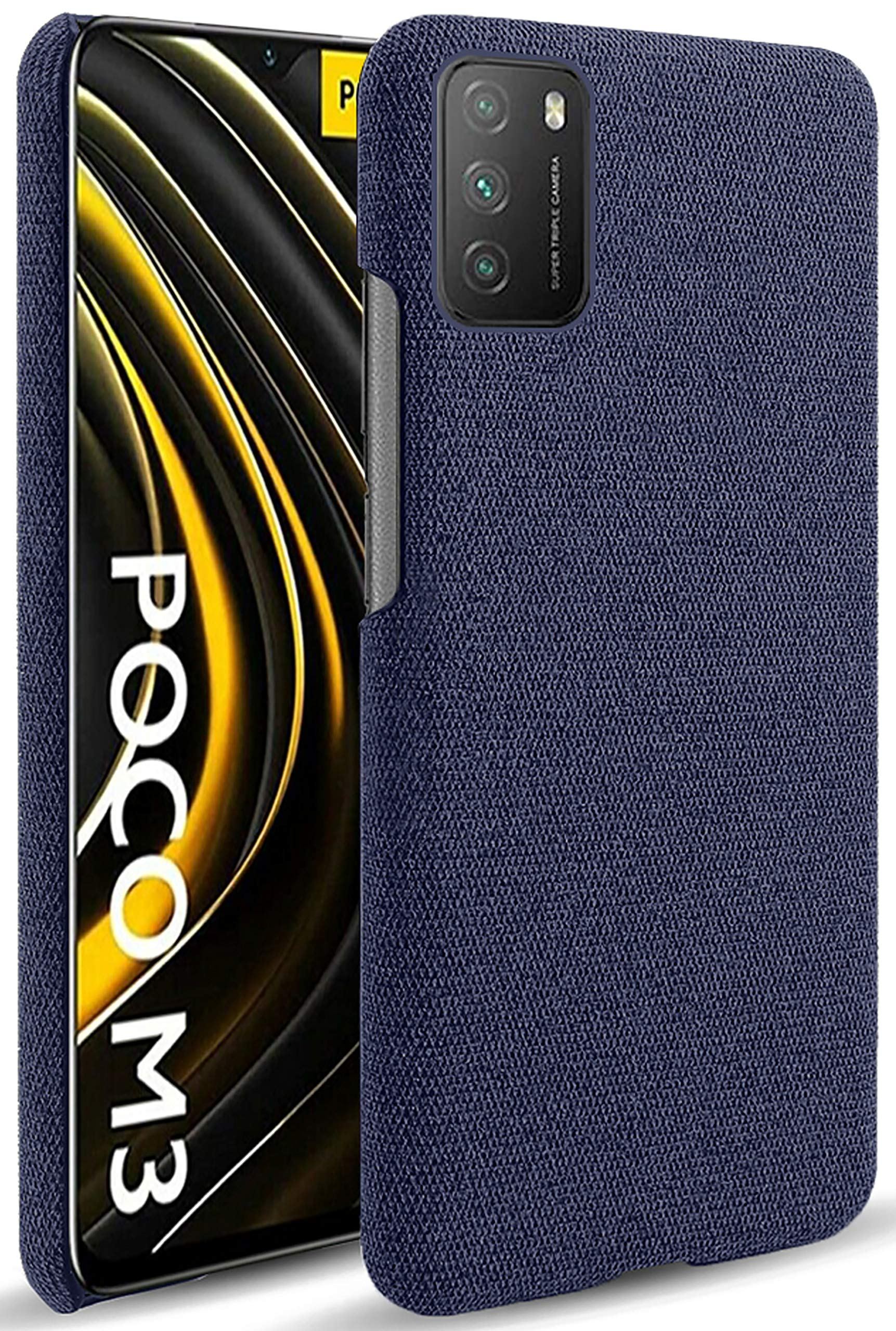Woven Soft Fabric Case for Poco M3 Back Cover, Shock Protection Slim Hard Anti Slip Back Cover, Blue