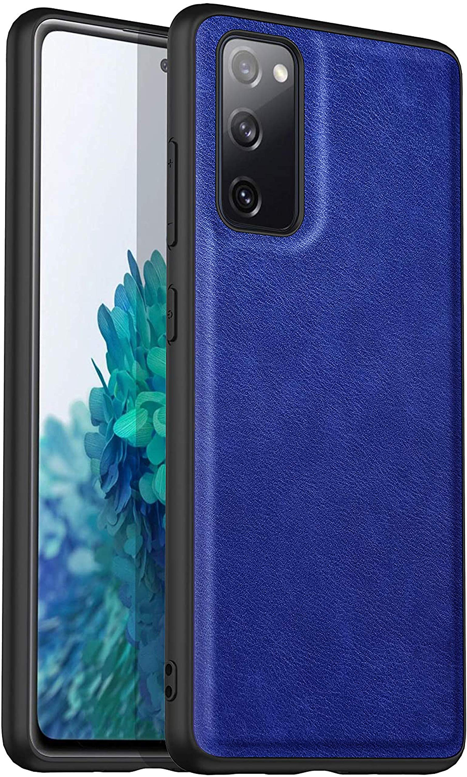 Tux Back Case for Samsun Galaxy S20 FE, Ultra Slim Leather Case with Soft Edge Shockproof Back Cover, Blue