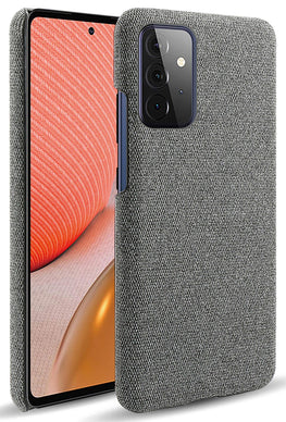 Woven Soft Fabric Case for Samsung Galaxy A72 Back Cover, Shock Protection Slim Hard Anti Slip Back Cover, Grey