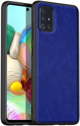 Tux Back Case for Samsun Galaxy A71, Ultra Slim Leather Case with Soft Edge Shockproof Back Cover, Blue