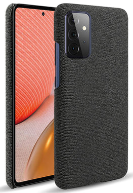 Woven Soft Fabric Case for Samsung Galaxy A72 Back Cover, Shock Protection Slim Hard Anti Slip Back Cover, Black