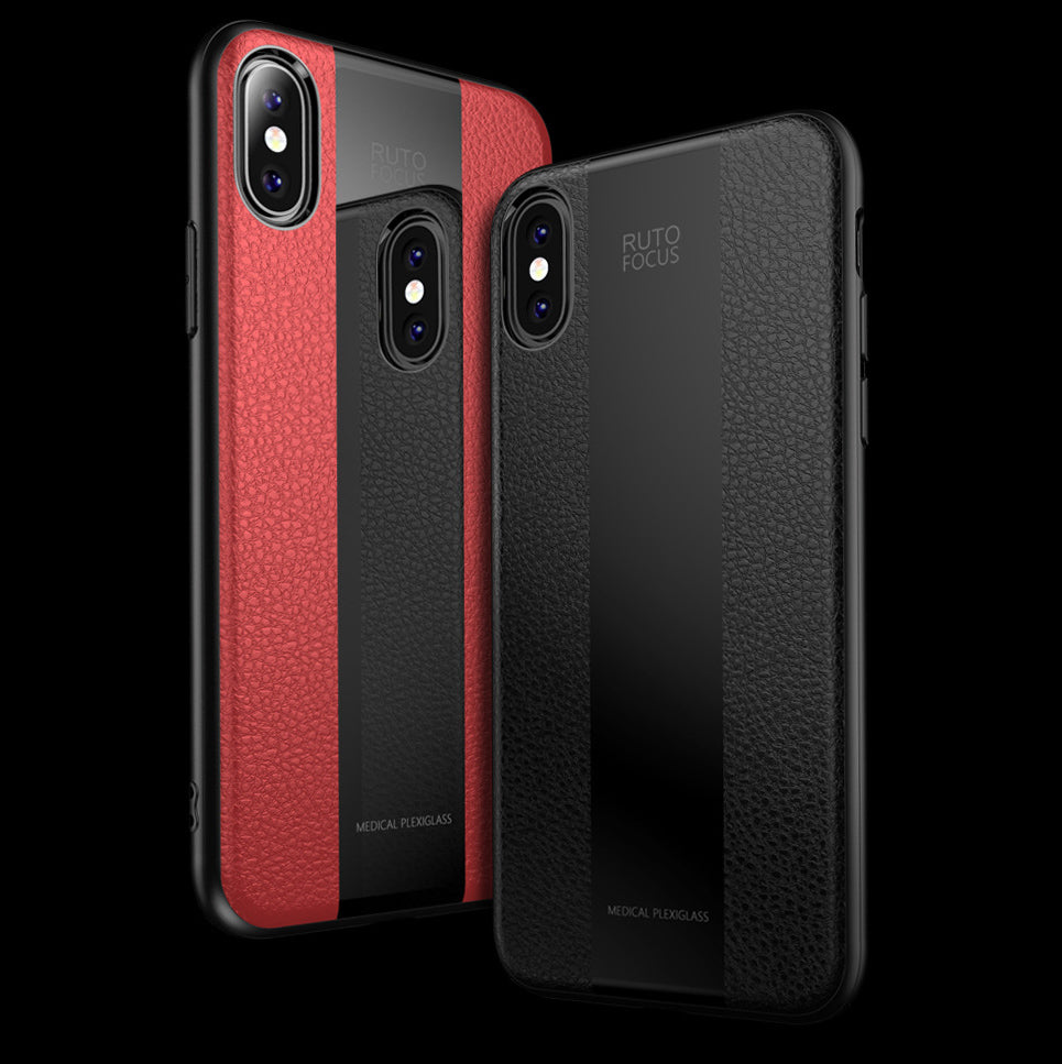 Racer Series Plexiglass & Leather Hybrid Shock Proof Case Cover for Apple iPhone X and XS - Mobizang