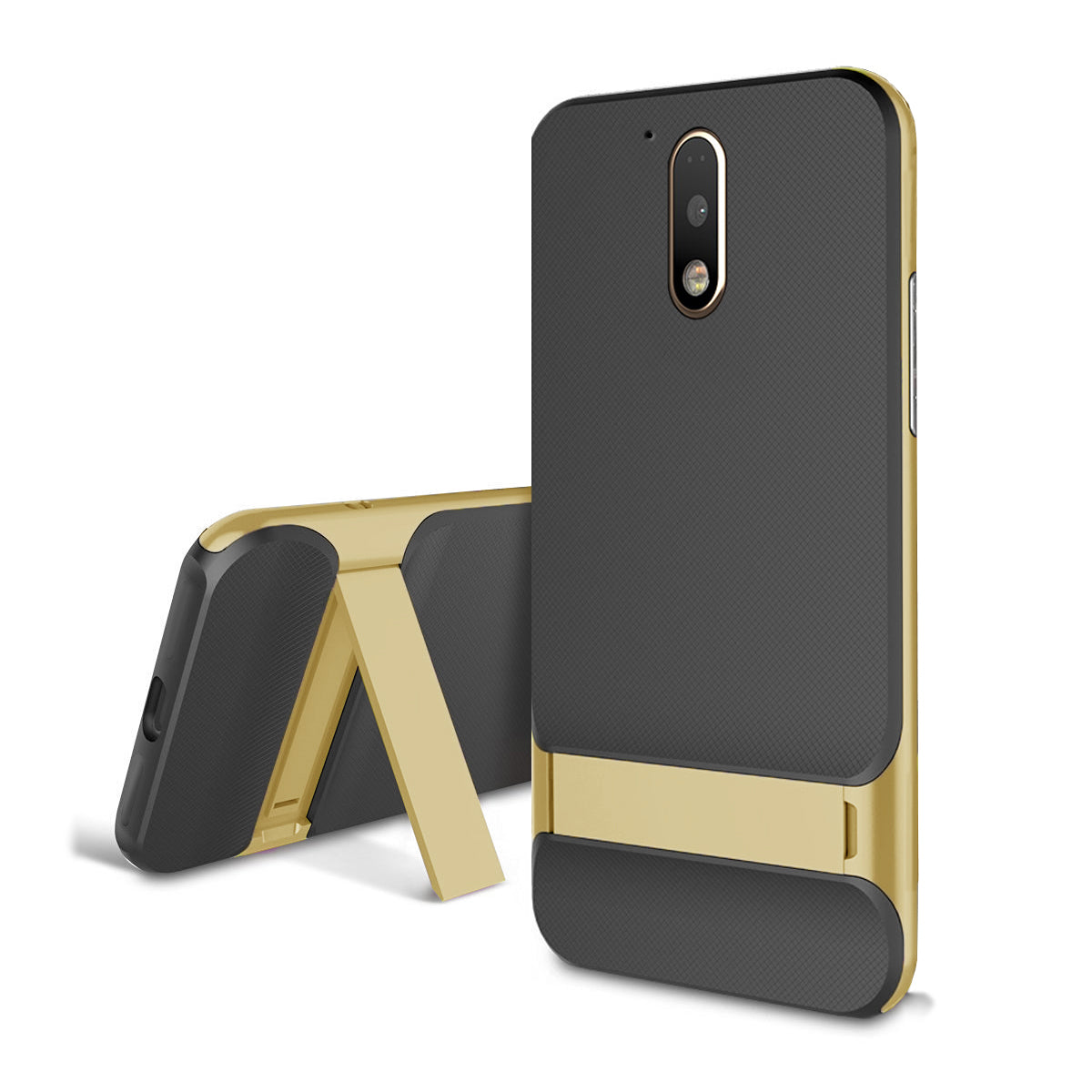Shock Proof Dual Layer [Inbuilt Stand ] Case Cover for Moto G4 Plus - Mobizang