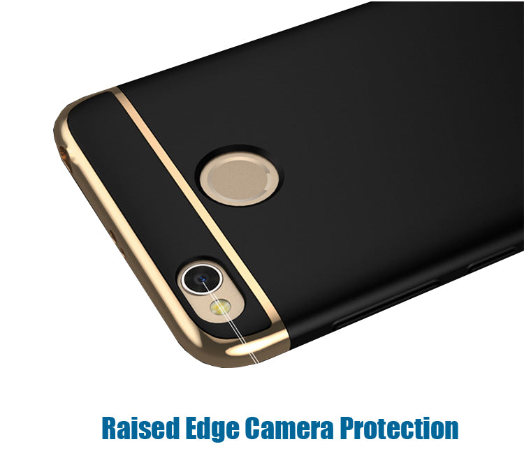 3 in 1 Chrome Finish 360° Hybrid body Protective Case Cover for Xiaomi Redmi 4 - Black - Mobizang