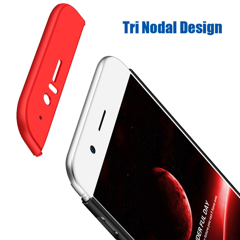 3 in 1 - 360° Full Protection Body Case Cover for Oneplus 5 - Red , Black - Mobizang
