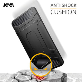 Rugged Shock Proof Slim Armor Flexible Back Cover Case for Oneplus 5 / One plus 5 - Black - Mobizang