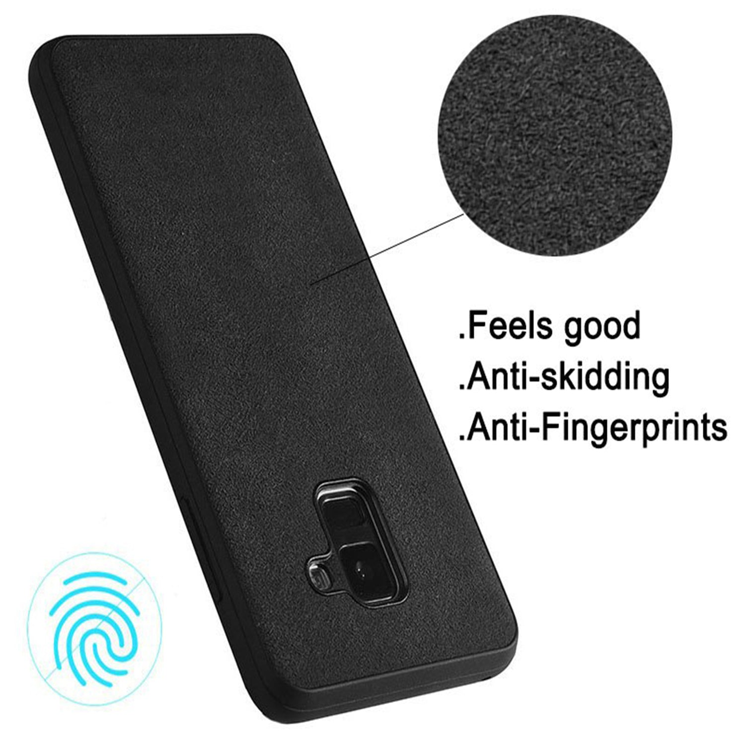 Italian Super Fine Suede Fabric Luxurious Protection Case Cover for Samsung Galaxy A8+ PLUS - Mobizang