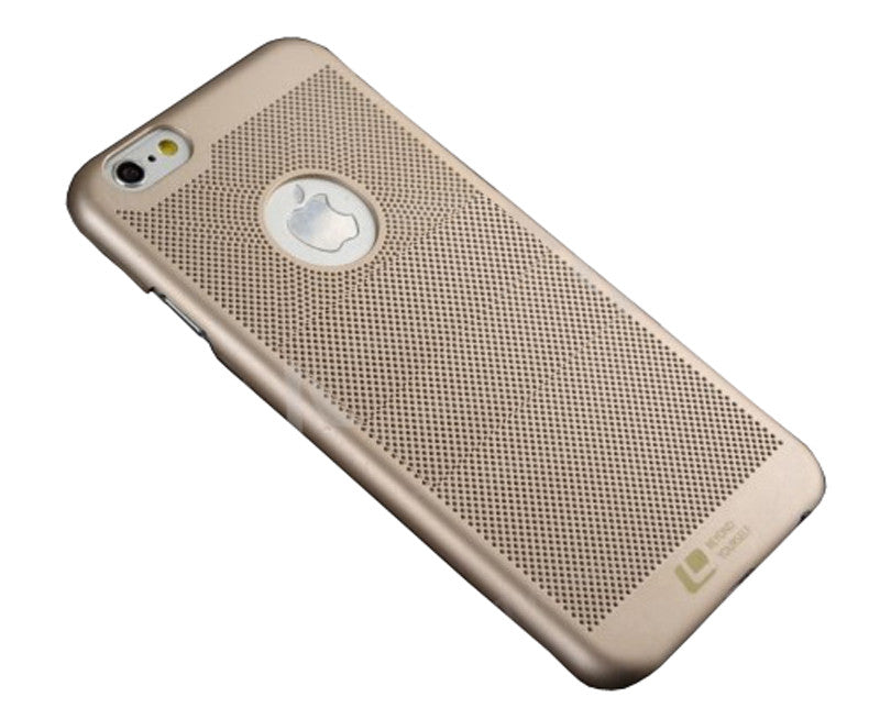 Loopee Heat Dissipation Hollow Thin Hard Back Case Cover for iPhone 5 5S - Gold - Mobizang