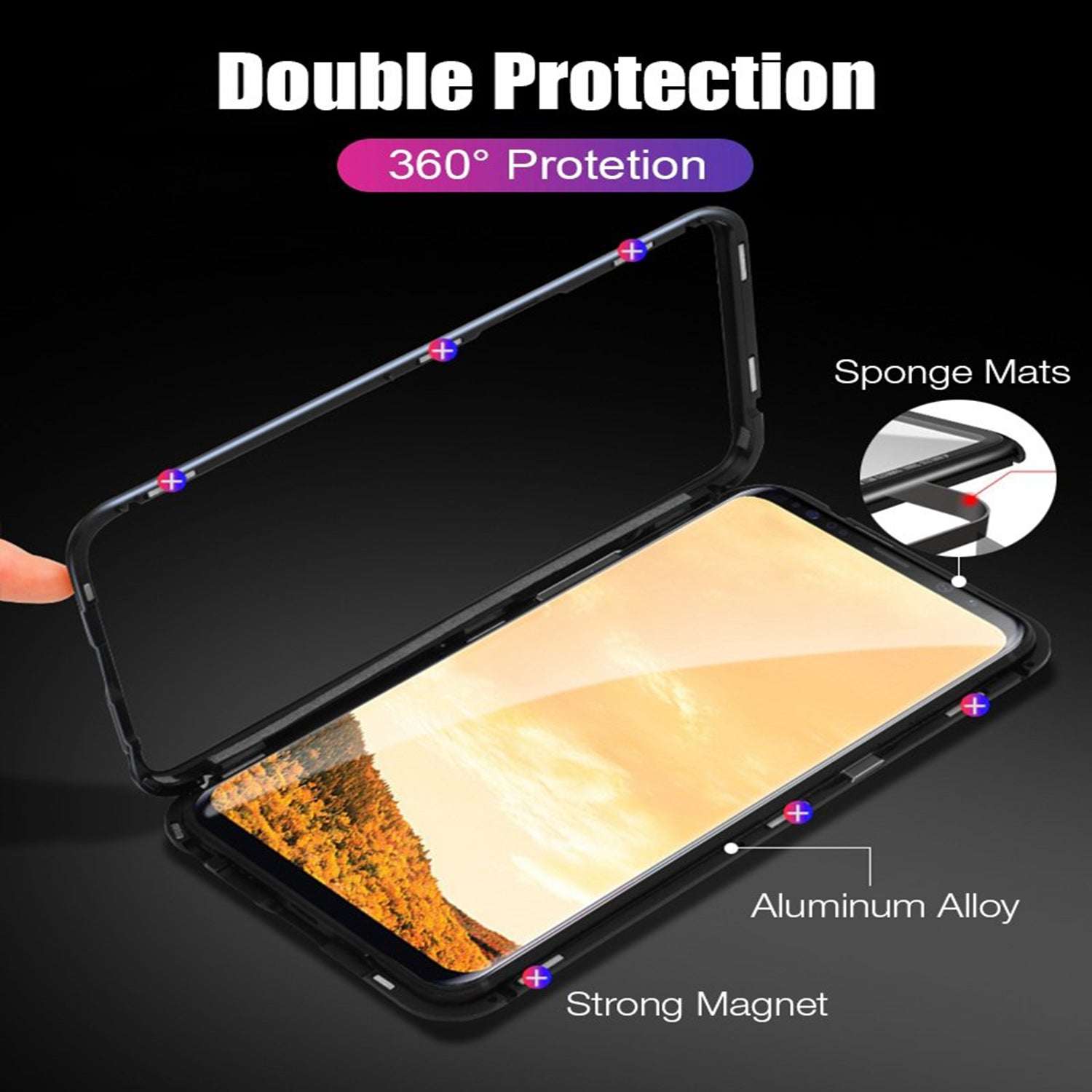 Shock Proof Toughened Glass Back [ Magnetic ] Metal Case Cover For Samsung Galaxy S9 - Black - Mobizang