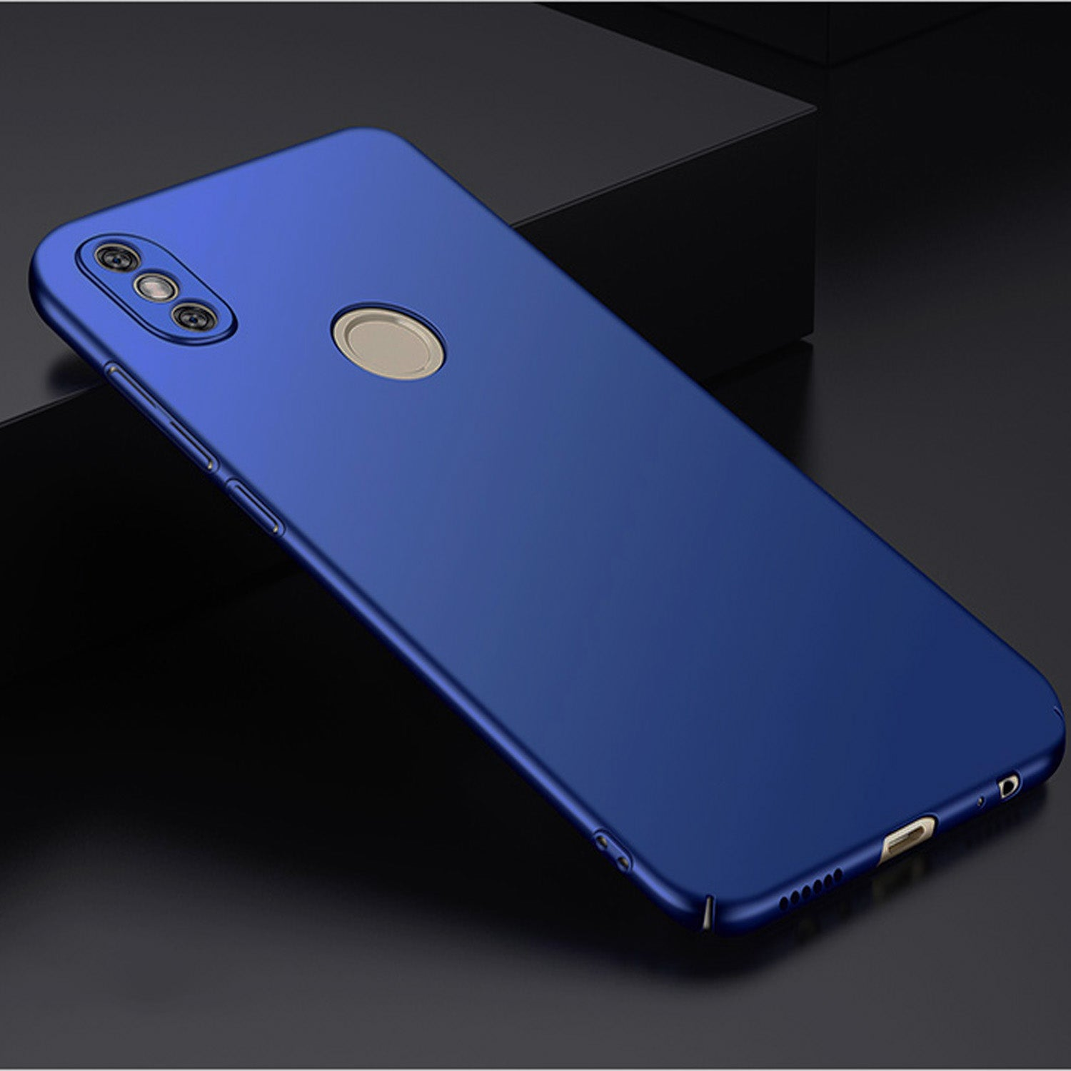 Silk Smooth Finish All Sides Protection Slim Camera Lens + Back Case Cover For Xiaomi Redmi Note 5 PRO - Blue - Mobizang