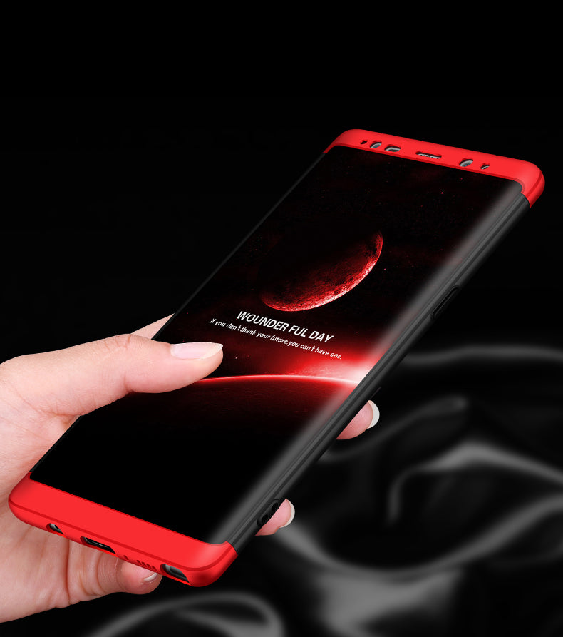 Double Dip Full 360 Protection Back Case Cover Compatible For Samsung Galaxy Note 8 - Red & Black - Mobizang
