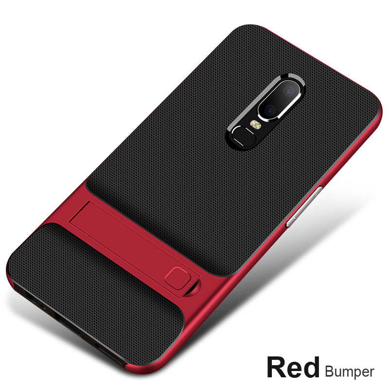 Shock Proof Stand Back Case Cover for Oneplus 6 - Red - Mobizang