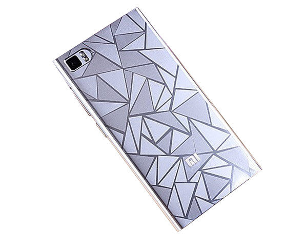 Diamond Pattenr Design Hard Back Case Cover for Xiaomi Mi 3 - Silver - Mobizang