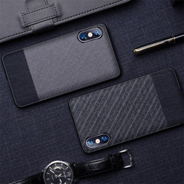 Suit Fabric Hybrid Protective Case Cover for Apple iPhone XS MAX - Mobizang