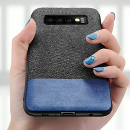 Fabric + Leather Hybrid Premium Protective Cases Cover for Samsung Galaxy S10 PLUS - Mobizang
